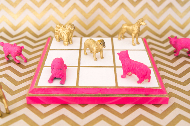 33 Cool DIYs With Spray Paint - Gilded Tic Tac To Game - Easy Spray Paint Decor, Fun Do It Yourself Spray Paint Ideas, Cool Spray Paint Projects To Try, Upcycled And Repurposed, Restore Old Items With Spray Paint