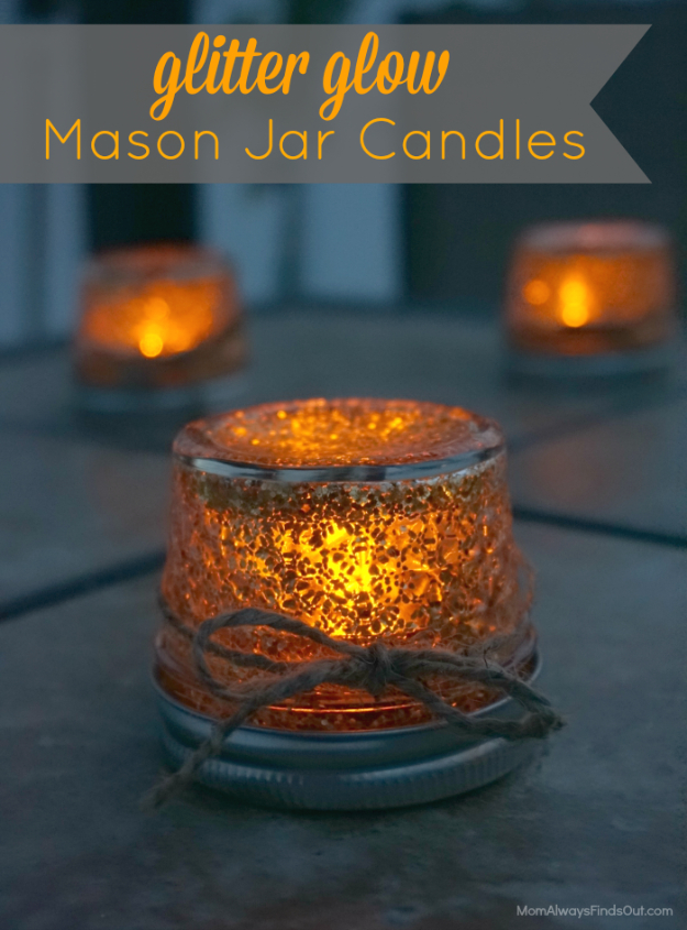 Best Mason Jar Crafts for Fall - Glitter Glow Mason Jar Candles - DIY Mason Jar Ideas for Centerpieces, Wedding Decorations, Homemade Gifts, Craft Projects with Leaves, Flowers and Burlap, Painted Art, Candles and Luminaries for Cool Home Decor