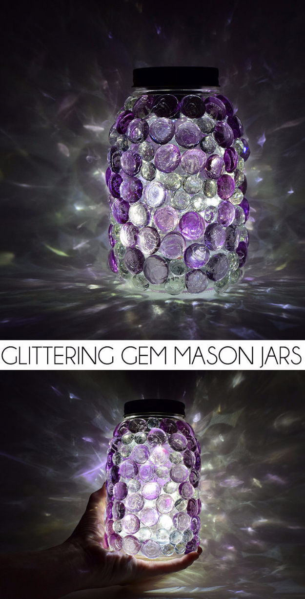 Mason Jar Crafts You Can Make In Under an Hour - Glittering Gem Mason Jars - Quick Mason Jar DIY Projects that Make Cool Home Decor and Awesome DIY Gifts - Best Creative Ideas for Mason Jars with Step By Step Tutorials and Instructions - For Teens, For Home, For Gifts, For Kids, For Summer, For Fall #masonjarcrafts #easycrafts