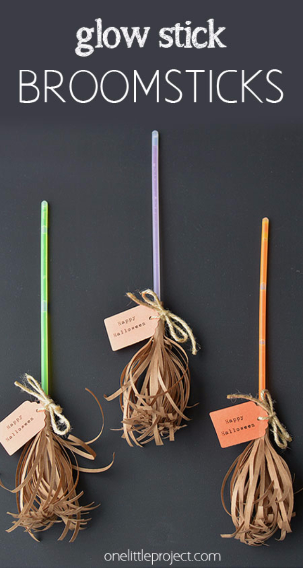 DIY Halloween Decorations - Glow Stick Broomsticks - Best Easy, Cheap and Quick Halloween Decor Ideas and Crafts for Inside and Outside Your Home - Scary, Creepy Cute and Fun Outdoor Project Tutorials http://diyjoy.com/cheap-diy-halloween-decorations