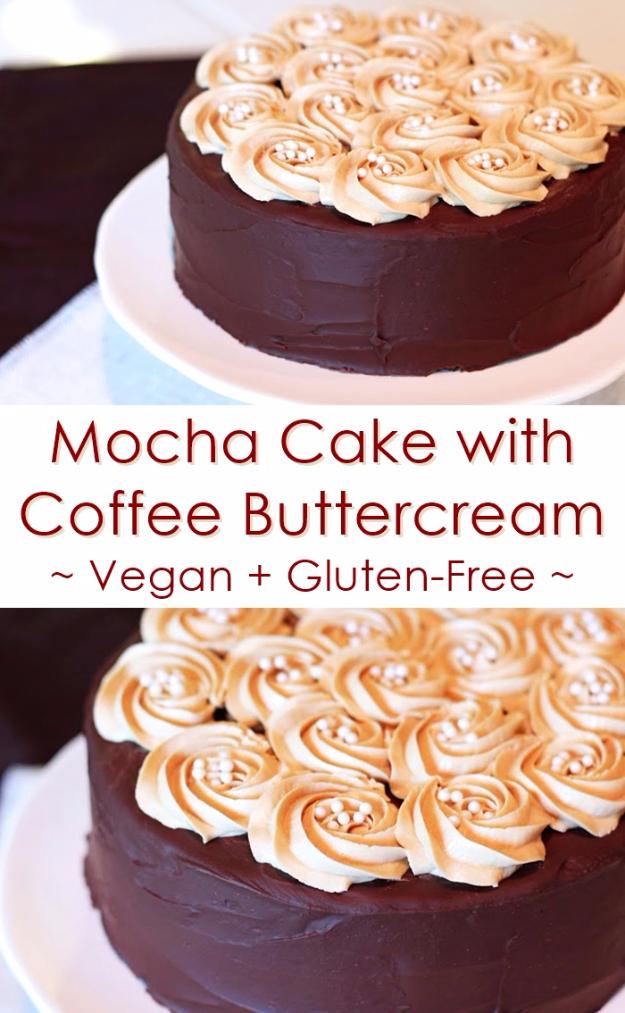 41 Best Homemade Birthday Cake Recipes - Gluten-Free Mocha Cake with Vegan Coffee Buttercream - Birthday Cake Recipes From Scratch, Delicious Birthday Cake Recipes To Make, Quick And Easy Birthday Cake Recipes, Awesome Birthday Cake Ideas http://diyjoy.com/best-birthday-cake-recipes
