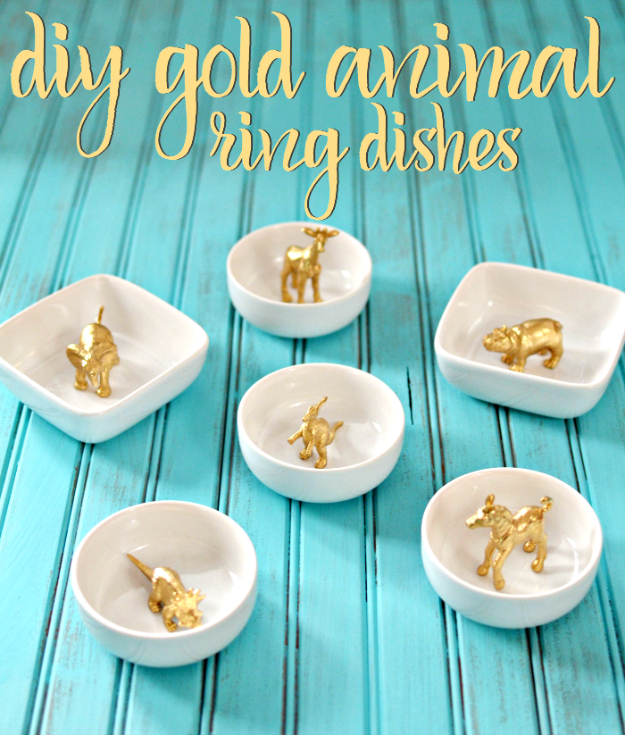 DIY Projects With Old Plates and Dishes - Gold Animal Ring Dishes - Creative Home Decor for Rustic, Vintage and Farmhouse Looks. Upcycle With These Best Crafts and Project Tutorials #diy #kitchen #crafts