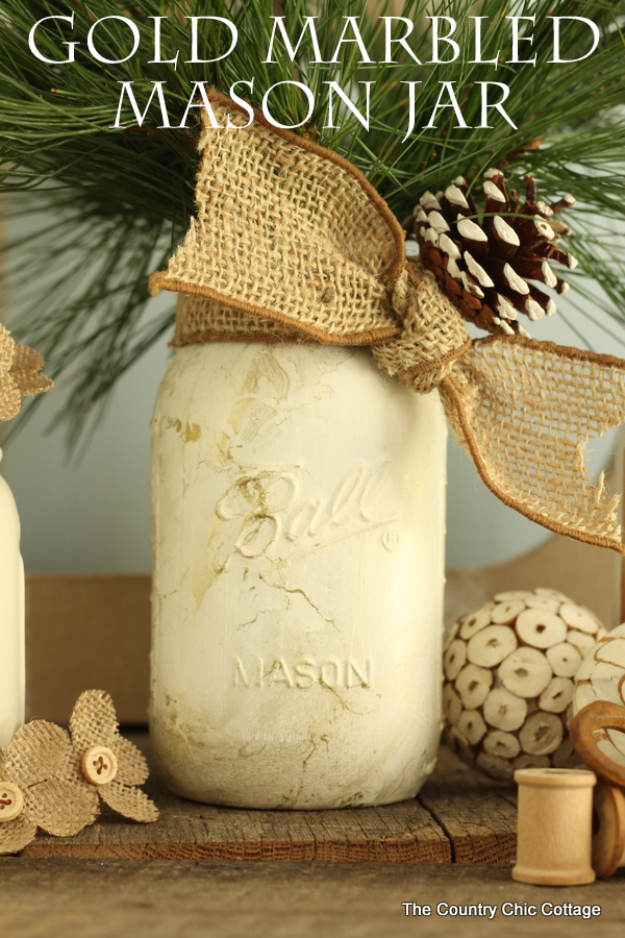 Best Mason Jar Crafts for Fall - Gold Marbled Mason Jar - DIY Mason Jar Ideas for Centerpieces, Wedding Decorations, Homemade Gifts, Craft Projects with Leaves, Flowers and Burlap, Painted Art, Candles and Luminaries for Cool Home Decor