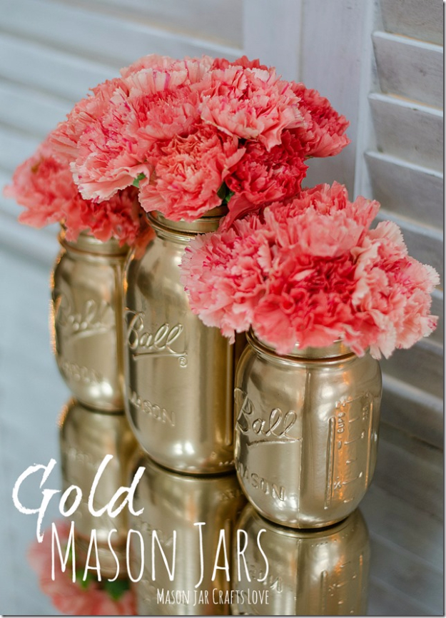 Mason Jar Crafts You Can Make In Under an Hour - Gold Mason Jars - Quick Mason Jar DIY Projects that Make Cool Home Decor and Awesome DIY Gifts - Best Creative Ideas for Mason Jars with Step By Step Tutorials and Instructions - For Teens, For Home, For Gifts, For Kids, For Summer, For Fall #masonjarcrafts #easycrafts