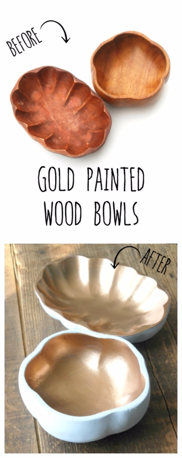 33 Cool DIYs With Spray Paint - Gold Painted Wood Bowls - Easy Spray Paint Decor, Fun Do It Yourself Spray Paint Ideas, Cool Spray Paint Projects To Try, Upcycled And Repurposed, Restore Old Items With Spray Paint