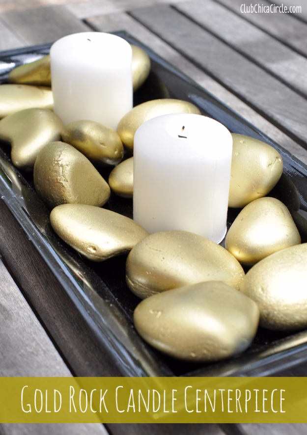 33 Cool DIYs With Spray Paint - Gold Rock Candle Centerpiece - Easy Spray Paint Decor, Fun Do It Yourself Spray Paint Ideas, Cool Spray Paint Projects To Try, Upcycled And Repurposed, Restore Old Items With Spray Paint