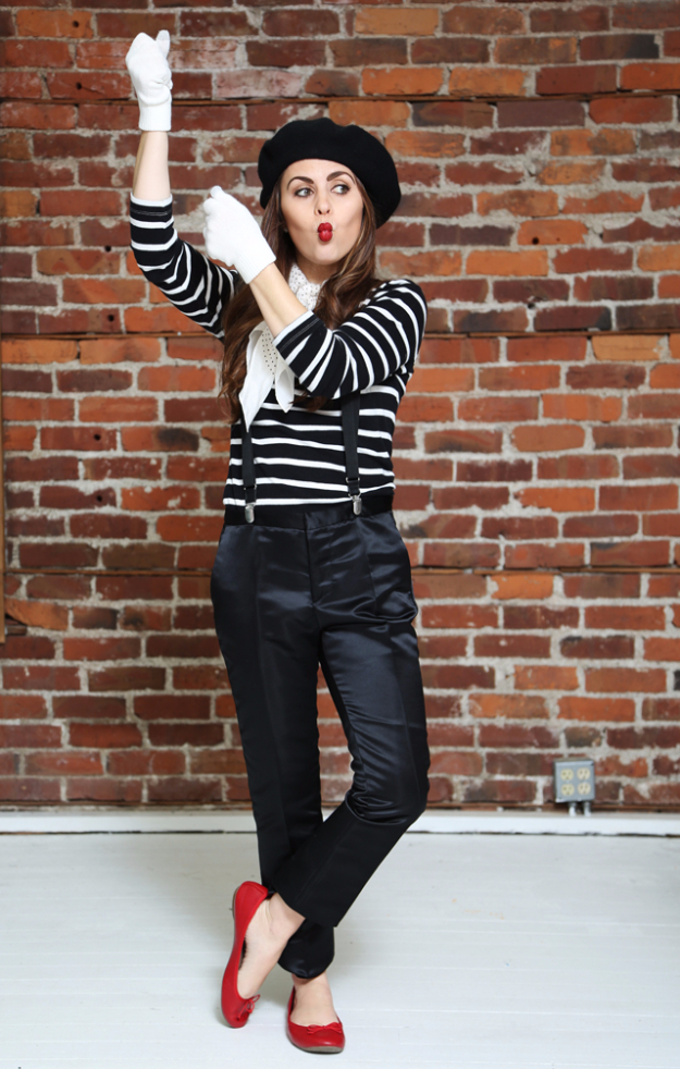 Best DIY Halloween Costume Ideas - Halloween French Mime - Do It Yourself Costumes for Women, Men, Teens, Adults and Couples. Fun, Easy, Clever, Cheap and Creative Costumes That Will Win The Contest