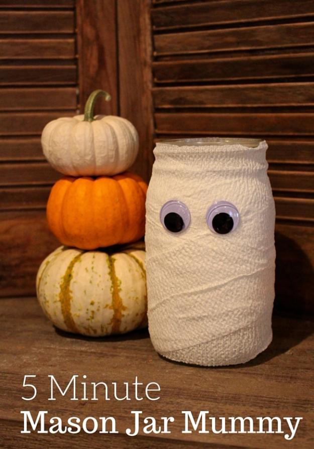DIY Halloween Decorations - Halloween Mason Jar Mummy - Best Easy, Cheap and Quick Halloween Decor Ideas and Crafts for Inside and Outside Your Home - Scary, Creepy Cute and Fun Outdoor Project Tutorials http://diyjoy.com/cheap-diy-halloween-decorations