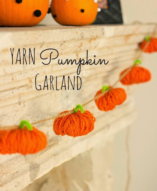 DIY Halloween Decorations - Halloween Yarn Pumpkin Garland - Best Easy, Cheap and Quick Halloween Decor Ideas and Crafts for Inside and Outside Your Home - Scary, Creepy Cute and Fun Outdoor Project Tutorials
