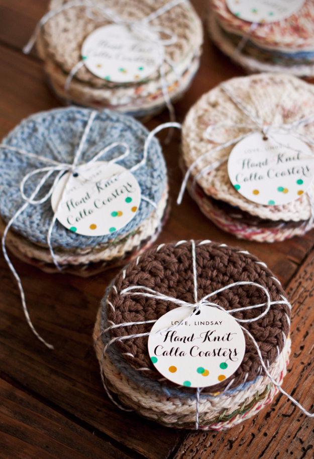 38 Easy Knitting Ideas - Hand Knit Coasters - Knitting Ideas For Beginners, Cute Kinitting Projects, Knitting Ideas And Patterns, Easy Knitting Crafts, Gifts You Can Knit#diy #knitting