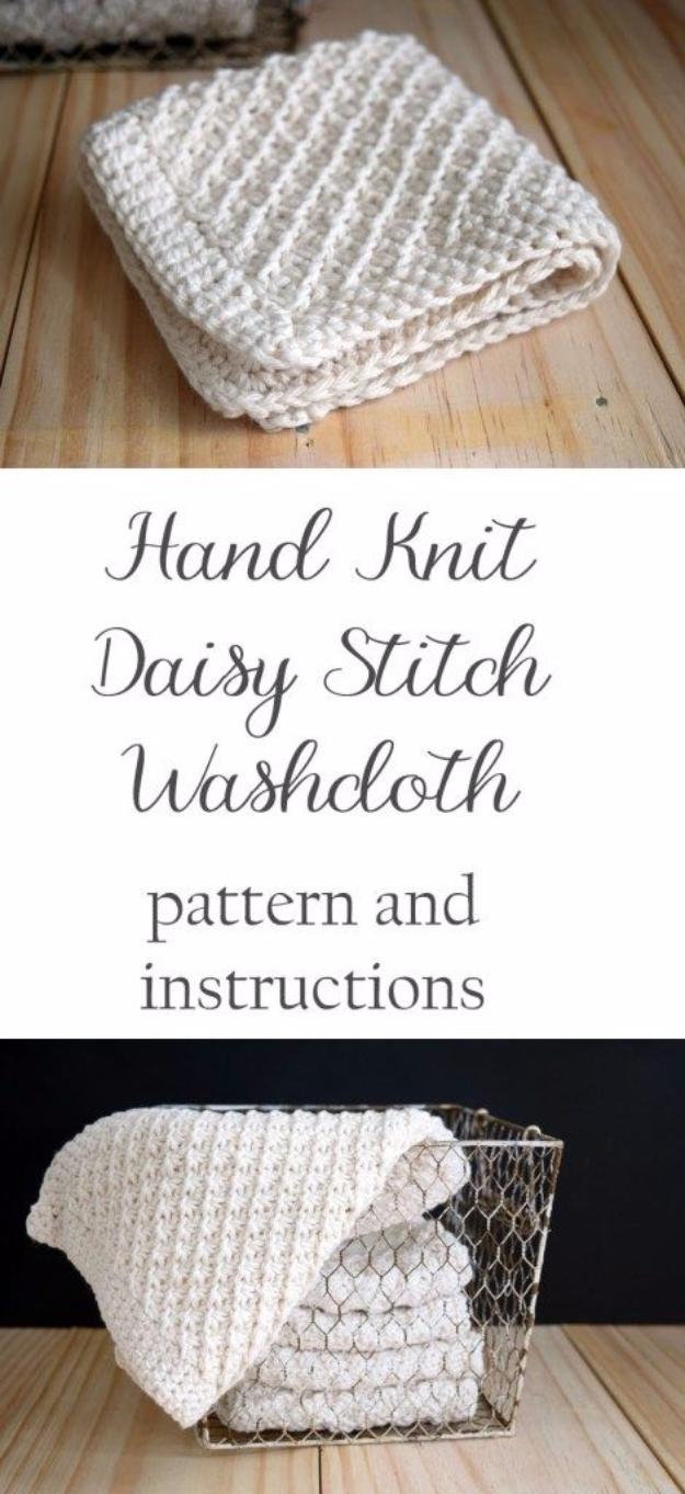 38 Easy Knitting Ideas -Hand Knit Daisy Stitch Washcloth- DIY Knitting Ideas For Beginners, Cute Knit Projects, Knitting Ideas And Patterns, Easy Knitting Crafts, Gifts You Can Knit#diy #knitting