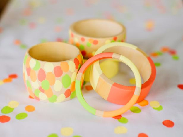 DIY Gifts for Mom - Hand Painted Wooden Bracelets - Best Craft Projects and Gift Ideas You Can Make for Your Mother - Last Minute Presents for Birthday and Christmas - Creative Photo Projects, Bath Ideas, Gift Baskets and Thoughtful Things to Give Mothers and Moms #diygifts #giftsformom