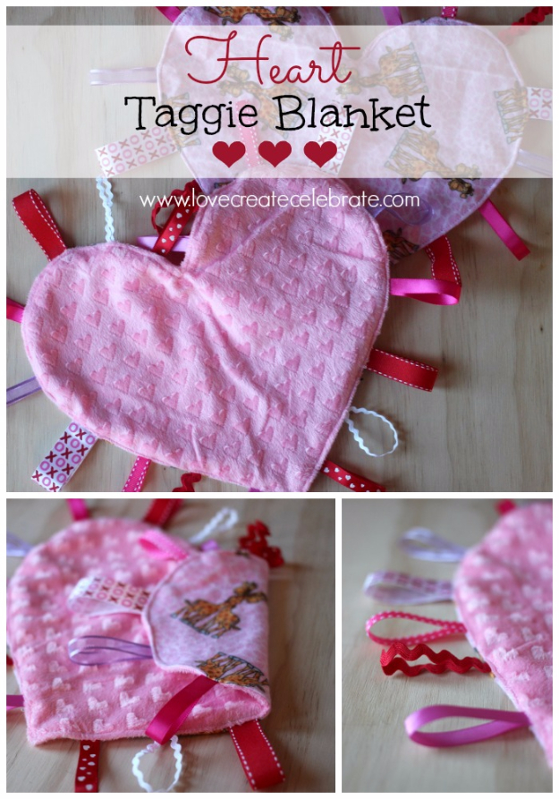 DIY Gifts for Babies - Heart Taggie Blanket - Best DIY Gift Ideas for Baby Boys and Girls - Creative Projects to Sew, Make and Sell, Gift Baskets, Diaper Cakes and Presents for Baby Showers and New Parents. Cool Christmas and Birthday Ideas  #diy #babygifts #diygifts #baby