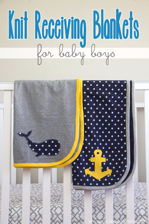 51 Things to Sew for Baby - Knit Receiving Blankets - Cool Gifts For Baby, Easy Things To Sew And Sell, Quick Things To Sew For Baby, Easy Baby Sewing Projects For Beginners, Baby Items To Sew And Sell #baby #diy #diygifts