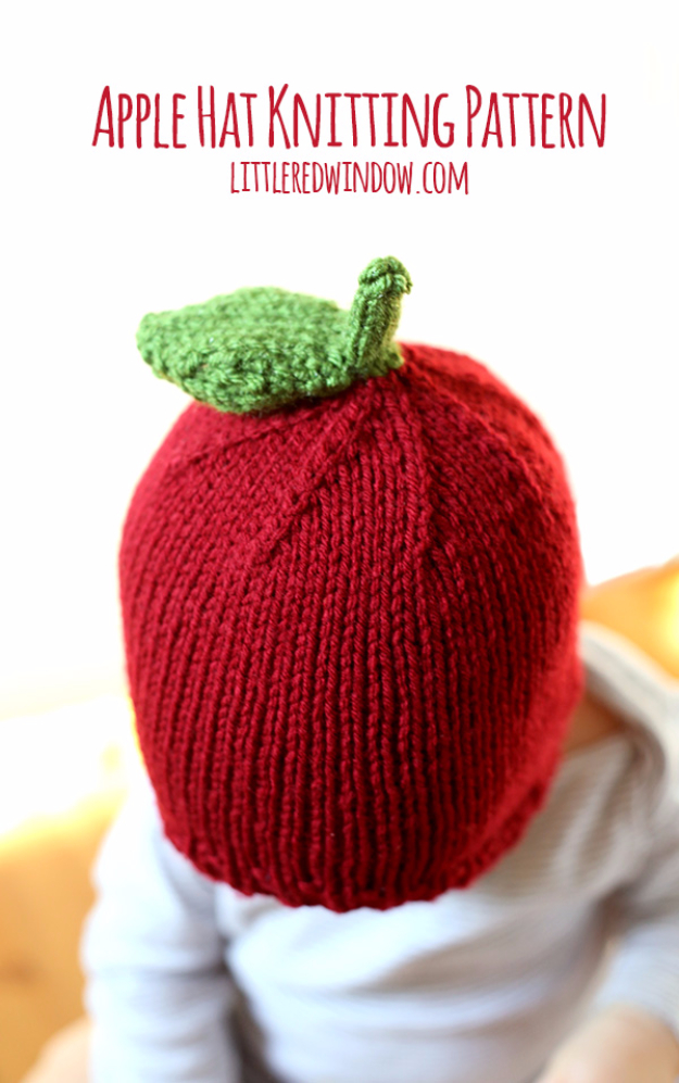 38 Easy Knitting Ideas -Knitted Apple Hat- DIY Knitting Ideas For Beginners, Cute Kinitting Projects, Knitting Ideas And Patterns, Easy Knitting Crafts, Gifts You Can Knit#diy #knitting