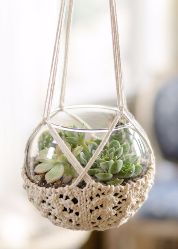 32 Easy Knitted Gifts - knitted-terrarium-hanger - Last Minute Knitted Gifts, Best Knitted Gifts For Anyone, Easy Knitted Gifts To Make, Knitted Gifts For Friends, Easy Knitting Patterns For Beginners, Quick Knitting Ideas #knitting #gifts #diygifts