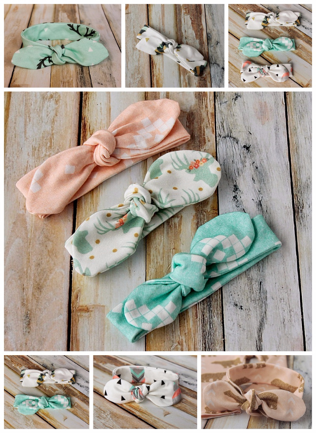 51 Things to Sew for Baby - Knot Bow Headband - Cool Gifts For Baby, Easy Things To Sew And Sell, Quick Things To Sew For Baby, Easy Baby Sewing Projects For Beginners, Baby Items To Sew And Sell #baby #diy #diygifts