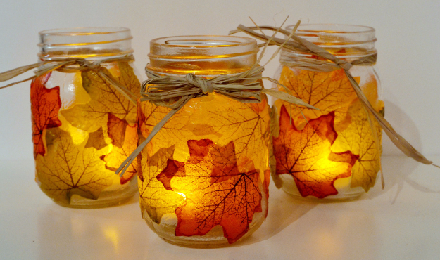 Best Mason Jar Crafts for Fall - Leaf Mason Jar Candle Holder - DIY Mason Jar Ideas for Centerpieces, Wedding Decorations, Homemade Gifts, Craft Projects with Leaves, Flowers and Burlap, Painted Art, Candles and Luminaries for Cool Home Decor