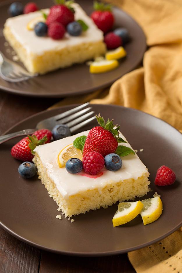 41 Best Homemade Birthday Cake Recipes - Lemon Sheet Cake - Birthday Cake Recipes From Scratch, Delicious Birthday Cake Recipes To Make, Quick And Easy Birthday Cake Recipes, Awesome Birthday Cake Ideas http://diyjoy.com/best-birthday-cake-recipes