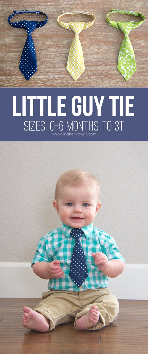 51 Things to Sew for Baby - Little Guy Tie - Cool Gifts For Baby, Easy Things To Sew And Sell, Quick Things To Sew For Baby, Easy Baby Sewing Projects For Beginners, Baby Items To Sew And Sell #baby #diy #diygifts