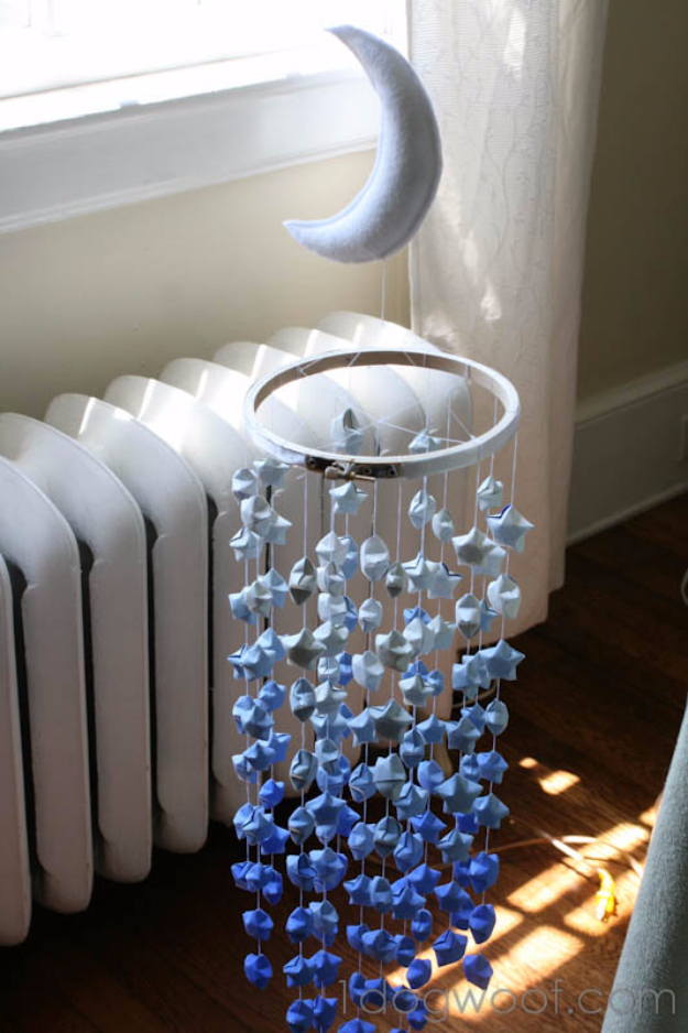 DIY Gifts for Babies - Lucky Star Ombre Mobile - Best DIY Gift Ideas for Baby Boys and Girls - Creative Projects to Sew, Make and Sell, Gift Baskets, Diaper Cakes and Presents for Baby Showers and New Parents. Cool Christmas and Birthday Ideas #diy #babygifts #diygifts #baby