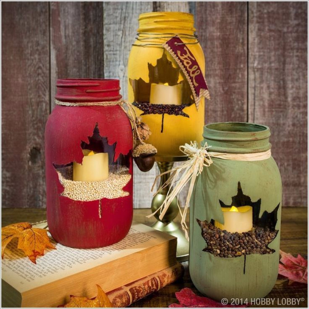 Best Mason Jar Crafts for Fall - Maple Leaf Mason Jar - DIY Mason Jar Ideas for Centerpieces, Wedding Decorations, Homemade Gifts, Craft Projects with Leaves, Flowers and Burlap, Painted Art, Candles and Luminaries for Cool Home Decor