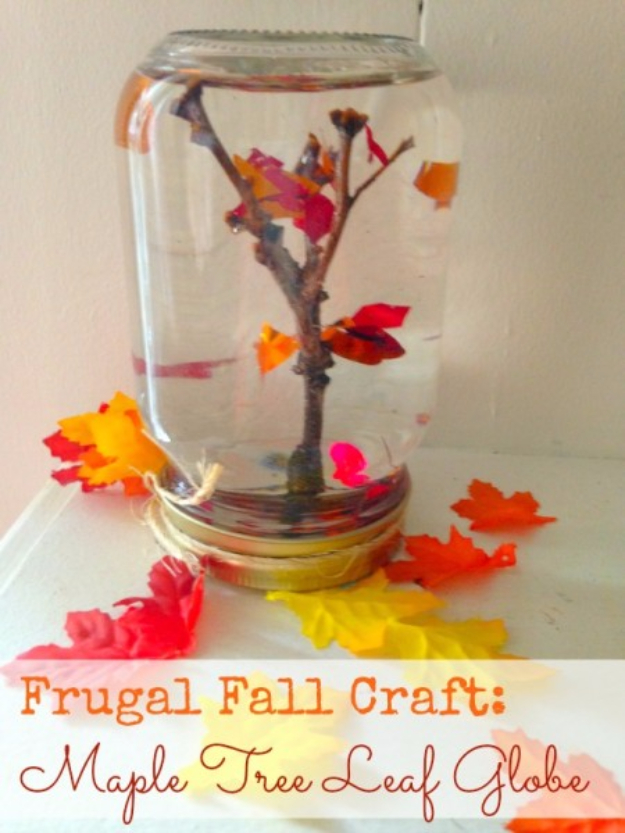 Best Mason Jar Crafts for Fall - Maple Tree Leaf Globe - DIY Mason Jar Ideas for Centerpieces, Wedding Decorations, Homemade Gifts, Craft Projects with Leaves, Flowers and Burlap, Painted Art, Candles and Luminaries for Cool Home Decor