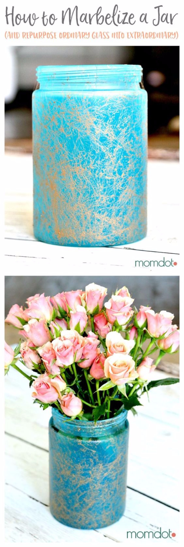 Mason Jar Crafts You Can Make In Under an Hour - Marbelized Mason Jar -Quick Mason Jar DIY Projects that Make Cool Home Decor and Awesome DIY Gifts - Best Creative Ideas for Mason Jars with Step By Step Tutorials and Instructions - For Teens, For Home, For Gifts, For Kids, For Summer, For Fall #masonjarcrafts #easycrafts