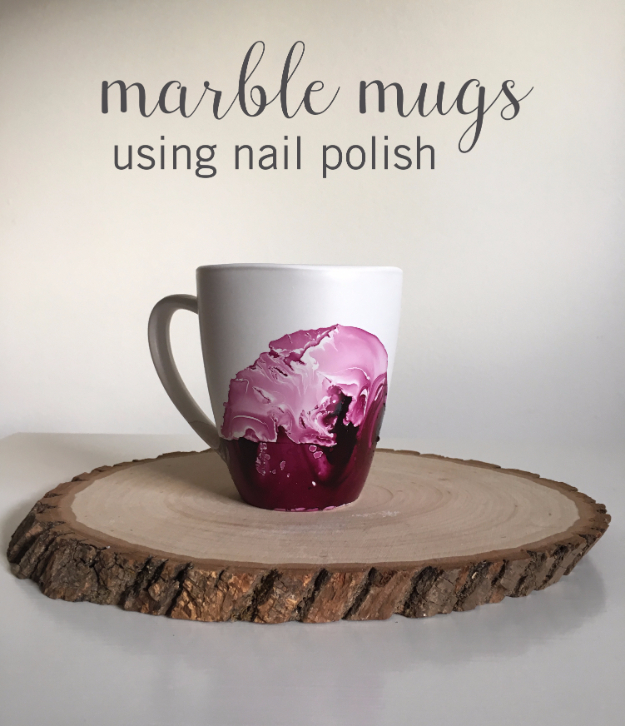 DIY Projects With Old Plates and Dishes - Marble Mugs Using Nail Polish - Creative Home Decor for Rustic, Vintage and Farmhouse Looks. Upcycle With These Best Crafts and Project Tutorials #diy #kitchen #crafts
