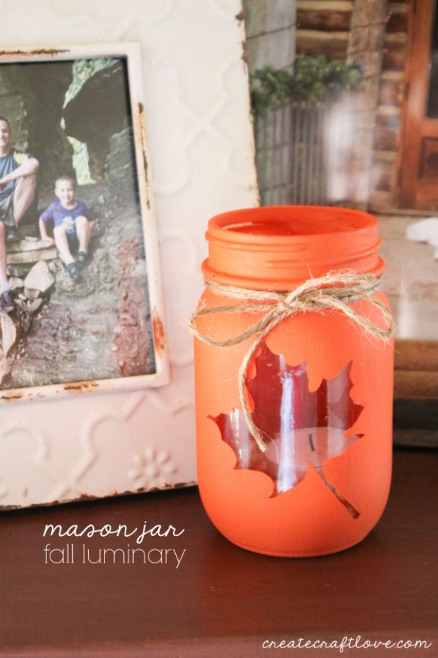 Best Mason Jar Crafts for Fall - Mason Jar Fall Luminary - DIY Mason Jar Ideas for Centerpieces, Wedding Decorations, Homemade Gifts, Craft Projects with Leaves, Flowers and Burlap, Painted Art, Candles and Luminaries for Cool Home Decor