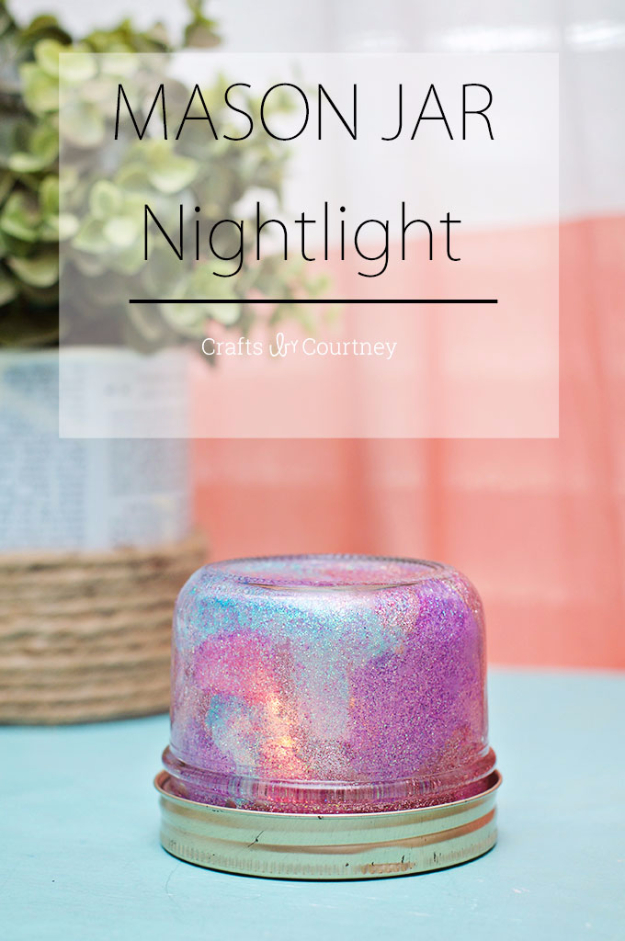 Mason Jar Crafts You Can Make In Under an Hour - Mason Jar Nightlight - Quick Mason Jar DIY Projects that Make Cool Home Decor and Awesome DIY Gifts - Best Creative Ideas for Mason Jars with Step By Step Tutorials and Instructions - For Teens, For Home, For Gifts, For Kids, For Summer, For Fall #masonjarcrafts #easycrafts