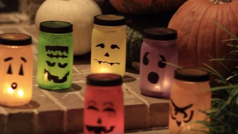 They Make Stunning Halloween Decor With Special Mason Jar Luminaries (Easy!) | DIY Joy Projects and Crafts Ideas