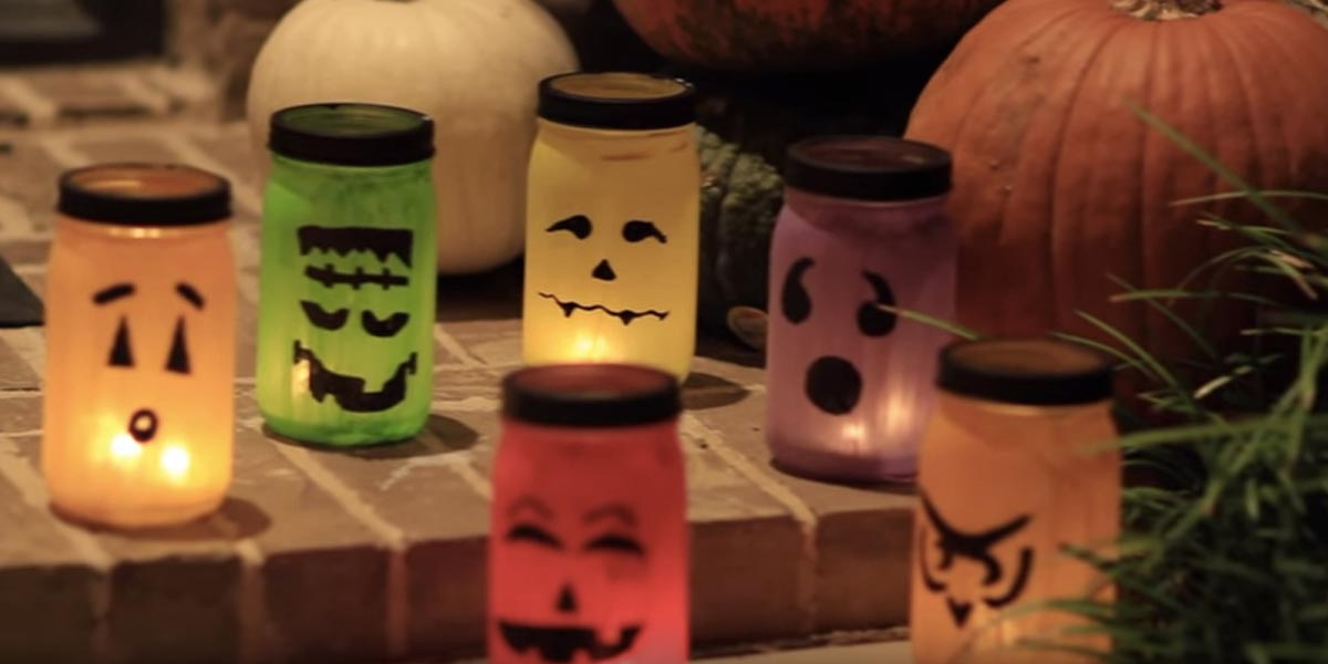 They make stunning halloween decor with special mason jar for Making luminaries