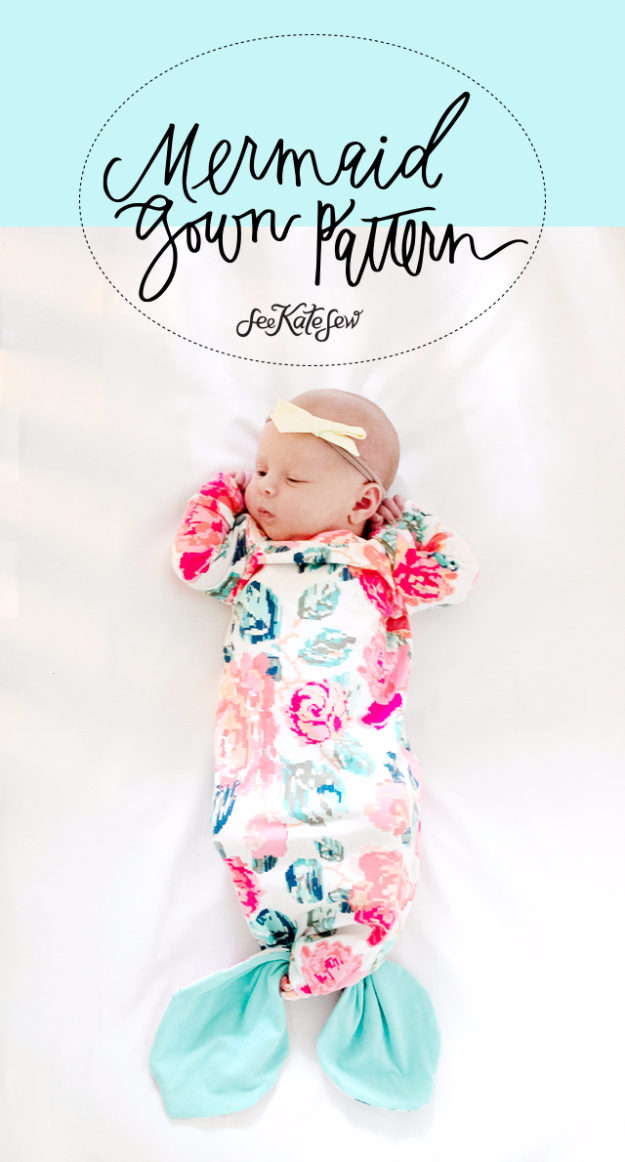 51 Things to Sew for Baby - Mermaid Baby Gown - Cool Gifts For Baby, Easy Things To Sew And Sell, Quick Things To Sew For Baby, Easy Baby Sewing Projects For Beginners, Baby Items To Sew And Sell #baby #diy #diygifts