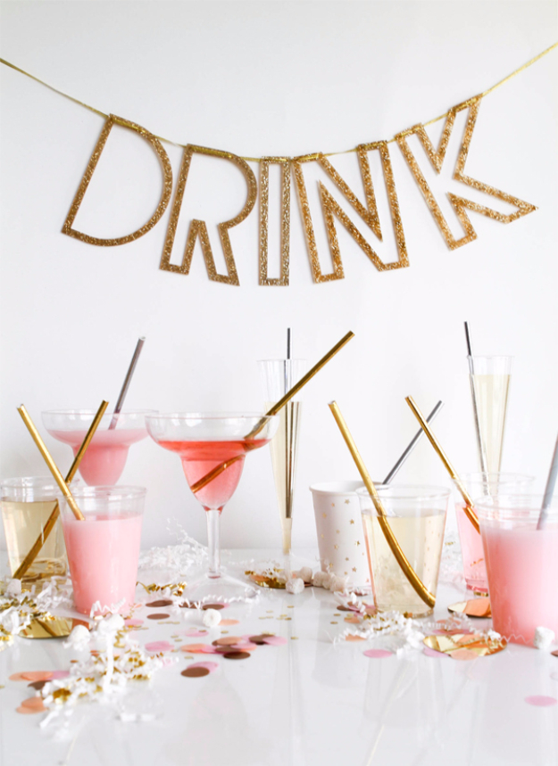 39 Easy DIY Party Decorations - Metallic Straws - Quick And Cheap Party Decors, Easy Ideas For DIY Party Decor, Birthday Decorations, Budget Do It Yourself Party Decorations #diyparties #party #partydecor #parties