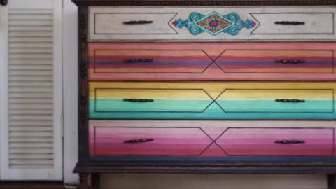 Watch How She Transforms An Old Dresser Into The Amazing Mexican Serape Look (Spectacular!)   DIY Joy Projects and Crafts Ideas