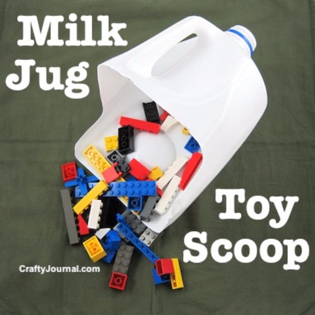 32 DIY Parenting Hacks - Milk Jug Toy Scoop - Brilliant Parenting Hacks, Tips And Tricks That Will Make Parenting Easier, Parenting Made Fun, Genius Parenting Hacks Every Parent Should Know, Best Parenting Hacks, Extremely Clever Parenting Hacks http://diyjoy.com/diy-parenting-hacks
