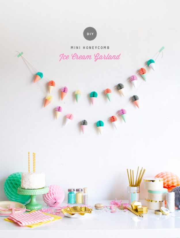 39 Easy DIY Party Decorations - Mini Honeycomb Ice Cream Garland - Quick And Cheap Party Decors, Easy Ideas For DIY Party Decor, Birthday Decorations, Budget Do It Yourself Party Decorations #diyparties #party #partydecor #parties