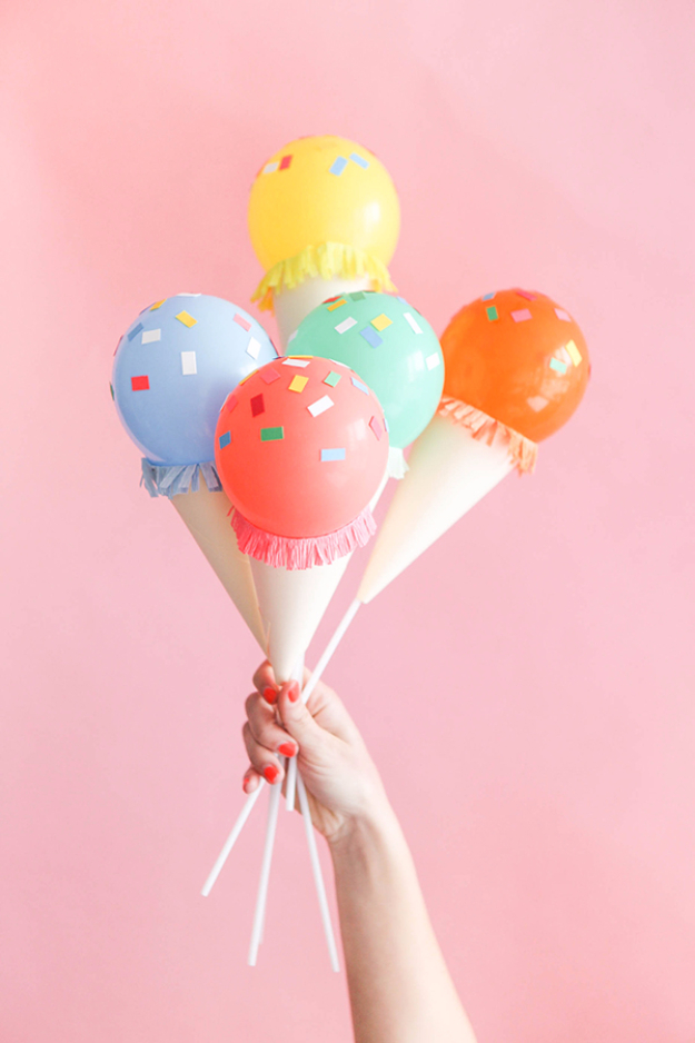 39 Easy DIY Party Decorations - Mini Ice Cream Cone Balloon Sticks DIY - Quick And Cheap Party Decors, Easy Ideas For DIY Party Decor, Birthday Decorations, Budget Do It Yourself Party Decorations #diyparties #party #partydecor #parties