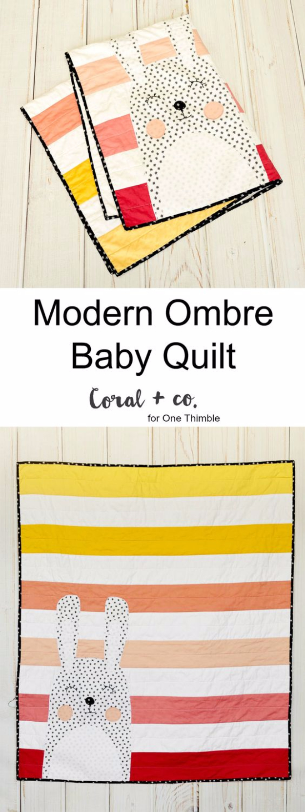 51 Things to Sew for Baby - Modern Ombre Baby Quilt - Cool Gifts For Baby, Easy Things To Sew And Sell, Quick Things To Sew For Baby, Easy Baby Sewing Projects For Beginners, Baby Items To Sew And Sell #baby #diy #diygifts