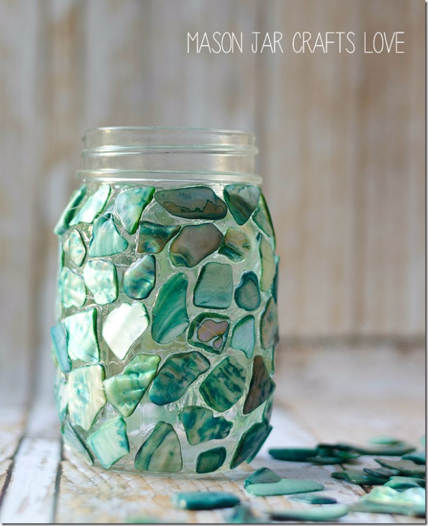 Mason Jar Crafts You Can Make In Under an Hour - Mosaic Mason Jar - Quick Mason Jar DIY Projects that Make Cool Home Decor and Awesome DIY Gifts - Best Creative Ideas for Mason Jars with Step By Step Tutorials and Instructions - For Teens, For Home, For Gifts, For Kids, For Summer, For Fall #masonjarcrafts #easycrafts