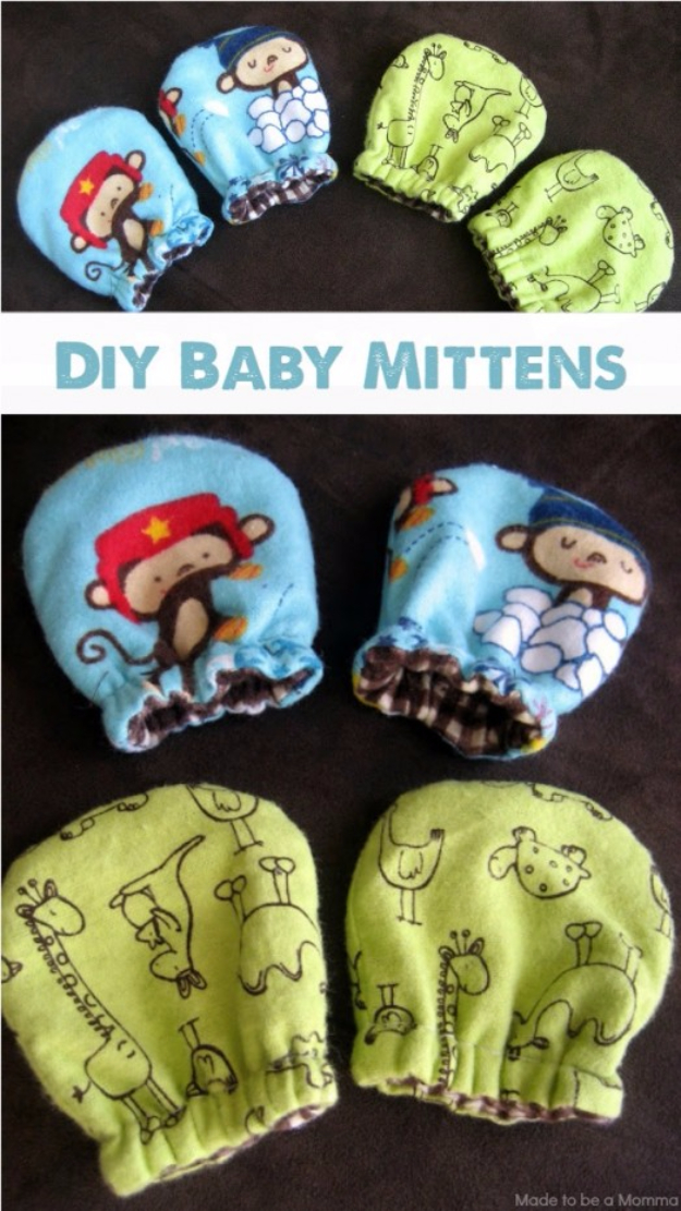 51 Things to Sew for Baby - No Scratch Baby Mittens - Cool Gifts For Baby, Easy Things To Sew And Sell, Quick Things To Sew For Baby, Easy Baby Sewing Projects For Beginners, Baby Items To Sew And Sell #baby #diy #diygifts