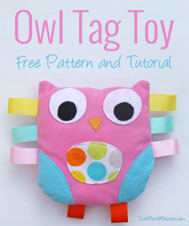 51 Things to Sew for Baby - Owl Tag Toy - Cool Gifts For Baby, Easy Things To Sew And Sell, Quick Things To Sew For Baby, Easy Baby Sewing Projects For Beginners, Baby Items To Sew And Sell #baby #diy #diygifts