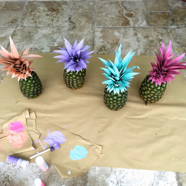 39 Easy DIY Party Decorations - Painted Pineapples DIY Party Decor - Quick And Cheap Party Decors, Easy Ideas For DIY Party Decor, Birthday Decorations, Budget Do It Yourself Party Decorations #diyparties #party #partydecor #parties