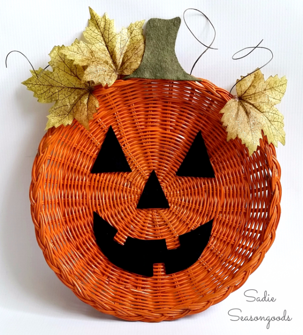 DIY Halloween Decorations - Paper Plate Holder Jack-o-Lantern Décor - Best Easy, Cheap and Quick Halloween Decor Ideas and Crafts for Inside and Outside Your Home - Scary, Creepy Cute and Fun Outdoor Project Tutorials http://diyjoy.com/cheap-diy-halloween-decorations