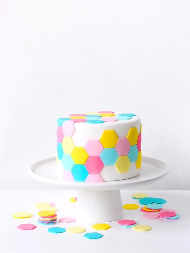 41 Best Homemade Birthday Cake Recipes - Pastel Hexagon Tile Cake - Birthday Cake Recipes From Scratch, Delicious Birthday Cake Recipes To Make, Quick And Easy Birthday Cake Recipes, Awesome Birthday Cake Ideas http://diyjoy.com/best-birthday-cake-recipes
