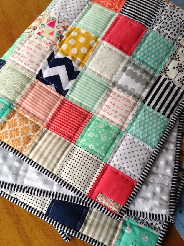 DIY Gifts for Babies - Patchwork Baby Quilt - Best DIY Gift Ideas for Baby Boys and Girls - Creative Projects to Sew, Make and Sell, Gift Baskets, Diaper Cakes and Presents for Baby Showers and New Parents. Cool Christmas and Birthday Ideas http://diyjoy.com/diy-gifts-for-baby