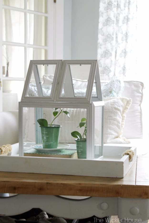 Easy Dollar Store Crafts - Picture Frame Greenhouse Terrarium - Quick And Cheap Crafts To Make, Dollar Store Craft Ideas To Make And Sell, Cute Dollar Store Do It Yourself Projects, Cheap Craft Ideas, Dollar store Decor,