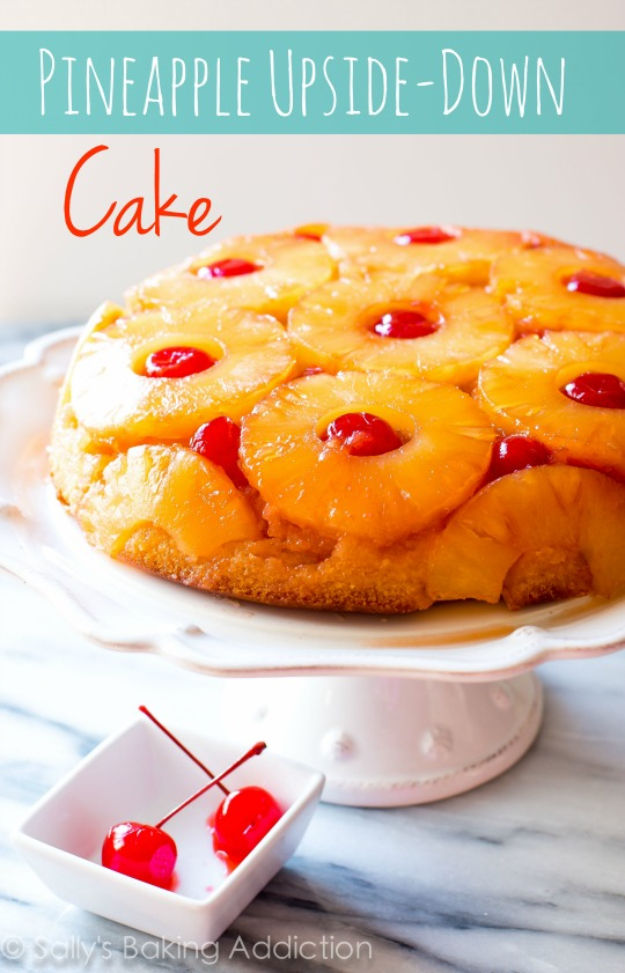 41 Best Homemade Birthday Cake Recipes - Pineapple Upside Down Cake - Birthday Cake Recipes From Scratch, Delicious Birthday Cake Recipes To Make, Quick And Easy Birthday Cake Recipes, Awesome Birthday Cake Ideas