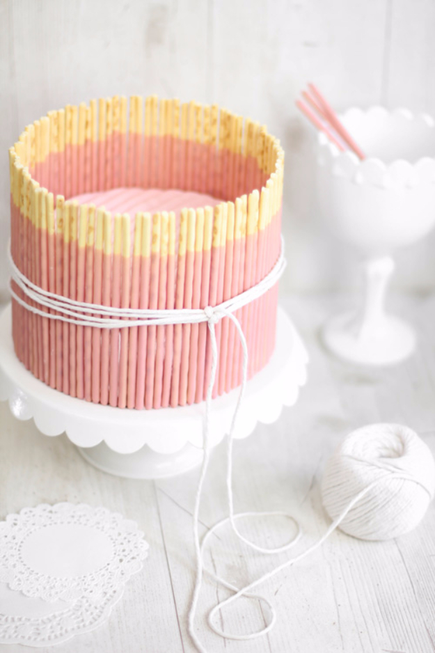 41 Best Homemade Birthday Cake Recipes - Pink Vanilla Pocky Cake - Birthday Cake Recipes From Scratch, Delicious Birthday Cake Recipes To Make, Quick And Easy Birthday Cake Recipes, Awesome Birthday Cake Ideas